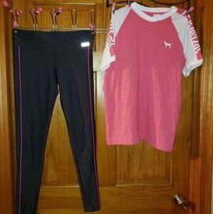 Victoria secrets pink yoga pants and shirt